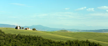 Tuscan chapel panorama Stock Photo