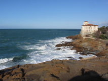 Tuscan coast in winter with Boccale castle near Livorno, Italy Royalty Free Stock Image