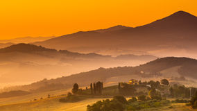 Tuscan Country during Sunrise, Italy Royalty Free Stock Photo