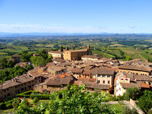 Tuscan countryside. An aerial view over a village and the countryside of Tuscany Royalty Free Stock Photo