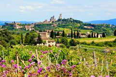 Tuscan countryside. View over the countryside of Tuscany, Italy towards the town of San Gimignano Stock Image