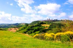 Tuscan countryside. Countryside of Tuscany towards the medieval town of San Gimignano, Italy Stock Images