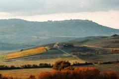 Tuscan countryside landscape panoramic view in an autumn day, Tuscany, Italy. Europe Stock Photos