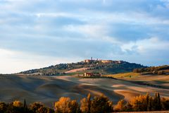 Tuscan countryside landscape with panoramic view of the city of Pienza in Val d`Orcia, Tuscany, Italy. Europe Royalty Free Stock Photos