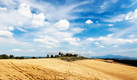 Tuscan countryside in a summer sunny day. Rural houses on the to Stock Image