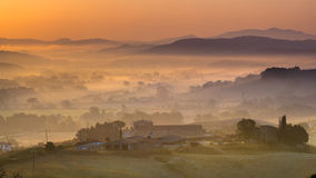 Tuscan Countryside during Sunrise Stock Photo