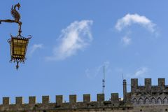 Tuscan details and clouds, Volterra, Pisa, Italy stock image