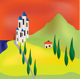 Tuscan Evening Background. Illustration of a landscape with hills, castle and lake Royalty Free Stock Images
