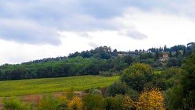 Tuscan fält på en molnig dag royaltyfri bild