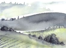 Tuscan farm and distant mountains landscape watercolor painting. Great for greeting cards or texture design or decoration royalty free stock photo