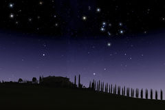 Tuscan farm under starry sky royalty free stock image