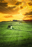 Tuscan farmhouse on a hill. At sunrise royalty free stock photos