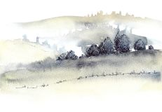 Tuscan farmland and fogg hills landscape watercolor painting. Great for greeting cards or texture design or decoration stock illustration