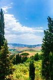 Tuscan fields and hills viewed from Pienza, Italy royalty free stock photo
