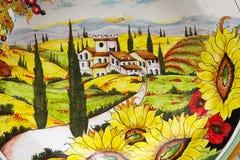 Tuscan hand målat keramiskt arkivbilder