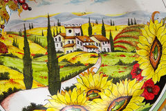 Tuscan hand painted ceramic. A Tuscan landscape, Tuscany, italy stock images