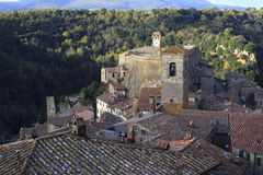Tuscan hill town. View of the Tuscan hill town of Sorano, Italy Stock Photo