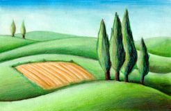Tuscan hills. Country landscape. Typical tuscan hills in Italy. Hand drawn illustration Royalty Free Stock Image