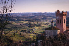 Tuscan hills from San Miniato. A view of Tuscan country from San Miniato at sunset Royalty Free Stock Photography