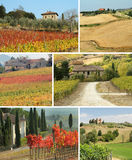 Tuscan house in idyllic landscape , collage Royalty Free Stock Image