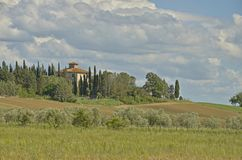 A tuscan house. Surrounded with cypresses with a view to the hills and olive grove and cloudy sky in the bakground Stock Photos