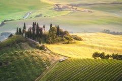 Tuscan hus på den dimmiga kullen i den Val d'Orciaen, Italien Royaltyfri Foto