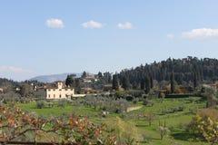 Tuscan kulle från den Boboli trädgården i Florence Royaltyfria Bilder
