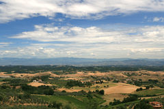 Tuscan landscape. Panoramic view on the fields in central tuscany, italy Stock Photos