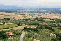 Tuscan landscape. Panoramic view on the fields and olive gardens in central tuscany Royalty Free Stock Photos