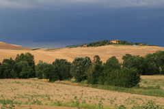 Tuscan landscape. House on the hill in central tuscany, italy Stock Images
