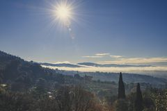 Tuscan landscape against the light stock photo