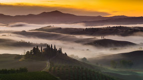 Tuscan landscape.Beautiful Tuscan morning stock photos