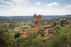 Tuscan landscape with cathedral in San Miniato, Italy. View over the impressive landscape in Tuscany with the cathedral of San Miniato in Italy Stock Image
