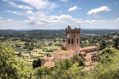 Tuscan landscape with cathedral in San Miniato, Italy. View over the impressive landscape in Tuscany with the cathedral of San Miniato in Italy stock photos