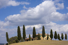 Tuscan Landscape, isolated farm with cypress Royalty Free Stock Photography