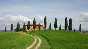 Tuscan landscape, Italy. Typical Tuscan landscape with house and cypress trees, Italy stock video footage