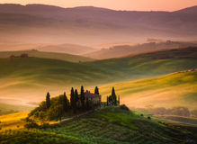 The Tuscan Landscape. Tuscan morning in Val d'Orcia, landscape with cypress trees, mist and hills Royalty Free Stock Photography