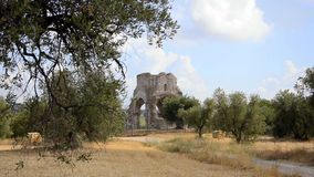 Tuscan landscape. Old church in tuscan countryside stock footage