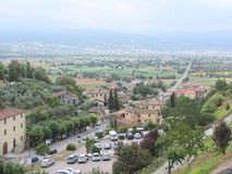 Tuscan Landscape. Overview from Angiari City Wall. Amazing Tuscan landscape Stock Photo