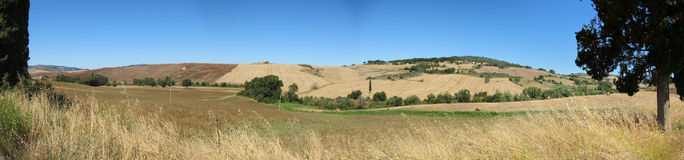Tuscan landscape. Panorama of the steppe in Tuscany Italy Royalty Free Stock Image