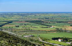 Tuscan landscape in the province of Grosseto, Italy. Panoramic view from the town of Montepescali, the terrace of the Maremma Royalty Free Stock Image
