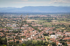 Tuscan landscape in San Miniato, Italy. View over the impressive landscape in Tuscany near San Miniato in Italy royalty free stock photography