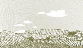 Tuscan Landscape Scene. Woodcut style illustration of an Italian or Napa Vally style landscape Royalty Free Stock Image