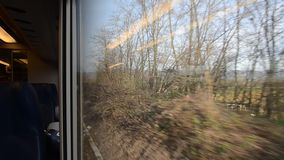 Tuscan landscape seen from the train. Tuscan landscape seen from inside the train stock footage