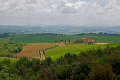 Tuscan landscape in spring Stock Photo