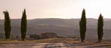 Tuscan Landscape, sunset Stock Photo