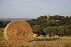 Tuscan landscape. Tuscany landscape with a hill and a haystack stock photography