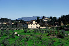 Tuscan landscape with typical house Stock Images
