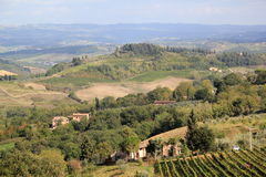 Tuscan Landscape. Typical landscape of Tuscany near San Gimignano Stock Photo