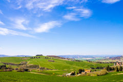 Tuscan landscape, view of the green Val D'Orcia Royalty Free Stock Image